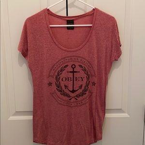 Obey Women's scoop neck T shirt size: M